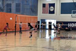 Volleyball Clinic Participants at Practice